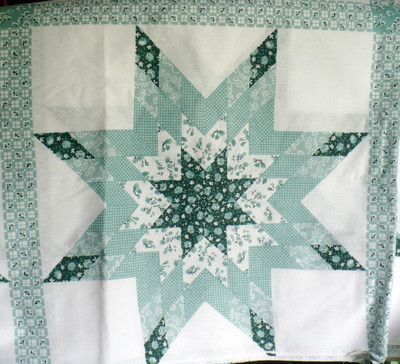 Green Calico Star 107 x 92 Pre Printed Cheater Quilt Top Faux ... : preprinted quilt tops - Adamdwight.com