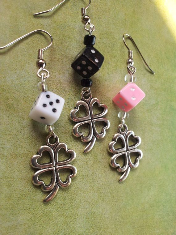 Bunko Dice Earrings with Lucky Shamrock by ColleenBrownDesign, $7.00