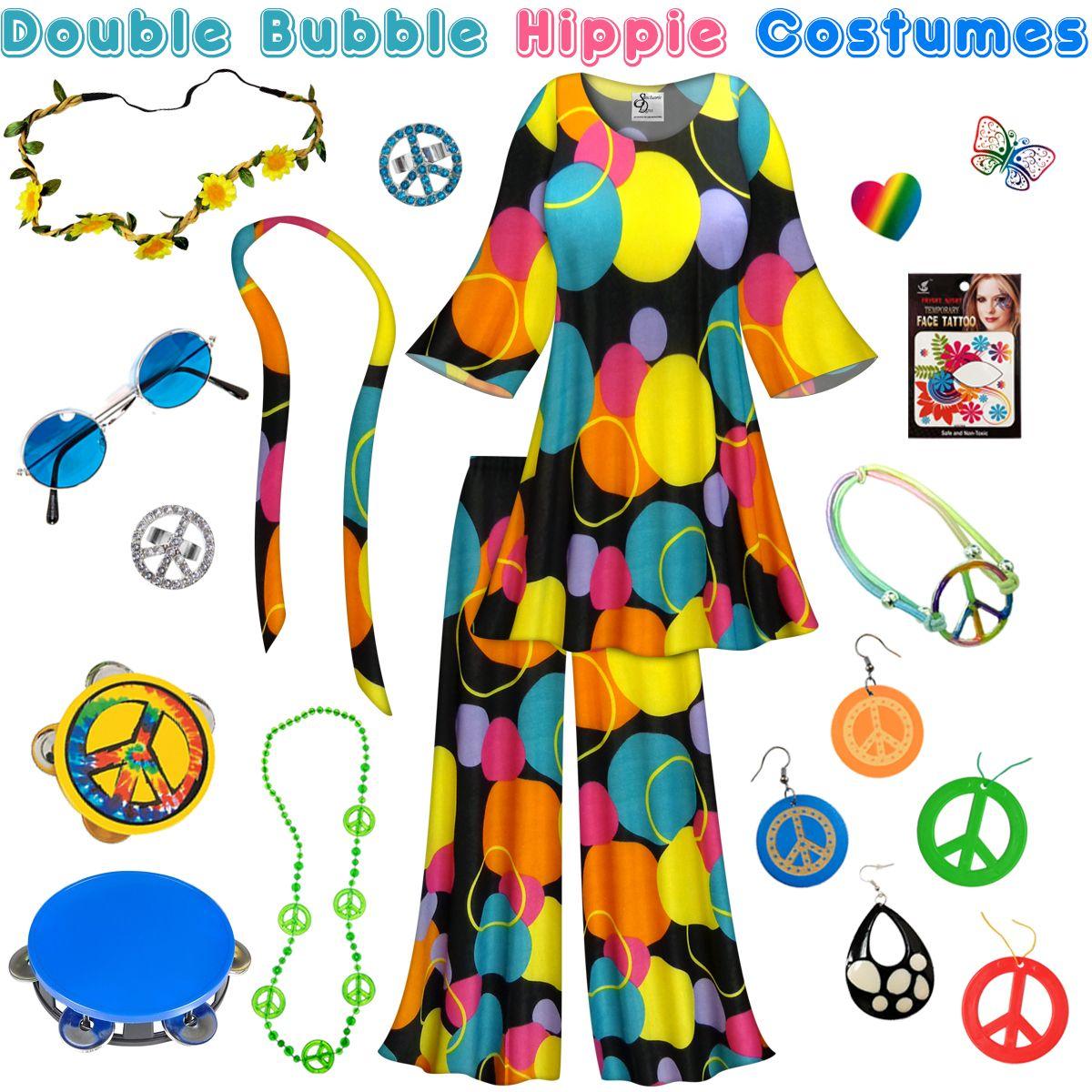 Double Bubble Print Hippie 2PC Set - 60's Style Retro Plus Size & Supersize  Halloween Costume