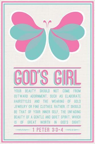God's Girl (1 Peter 3:3-4) Christian Inspiratonal Poster - Slingshot Publishing
