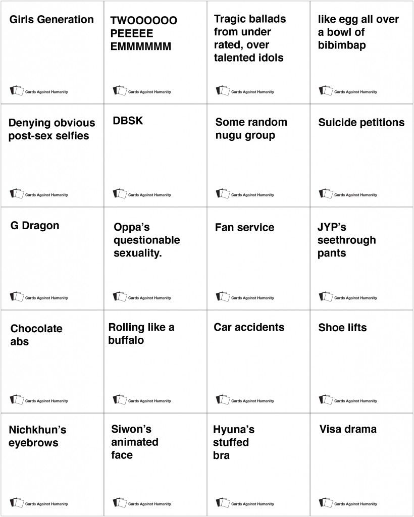 K Pop Cards Against Humanity Kpop Pinterest
