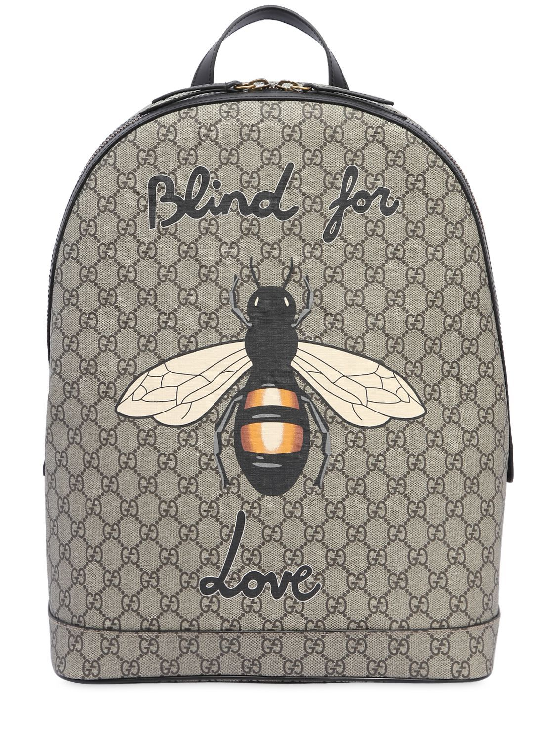 20f7e7512f4b GUCCI BEE PRINTED GG SUPREME BACKPACK. #gucci #bags #leather #lining #canvas  #backpacks #