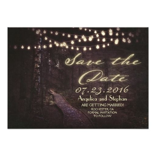 string of lights rustic trees save the date invitations
