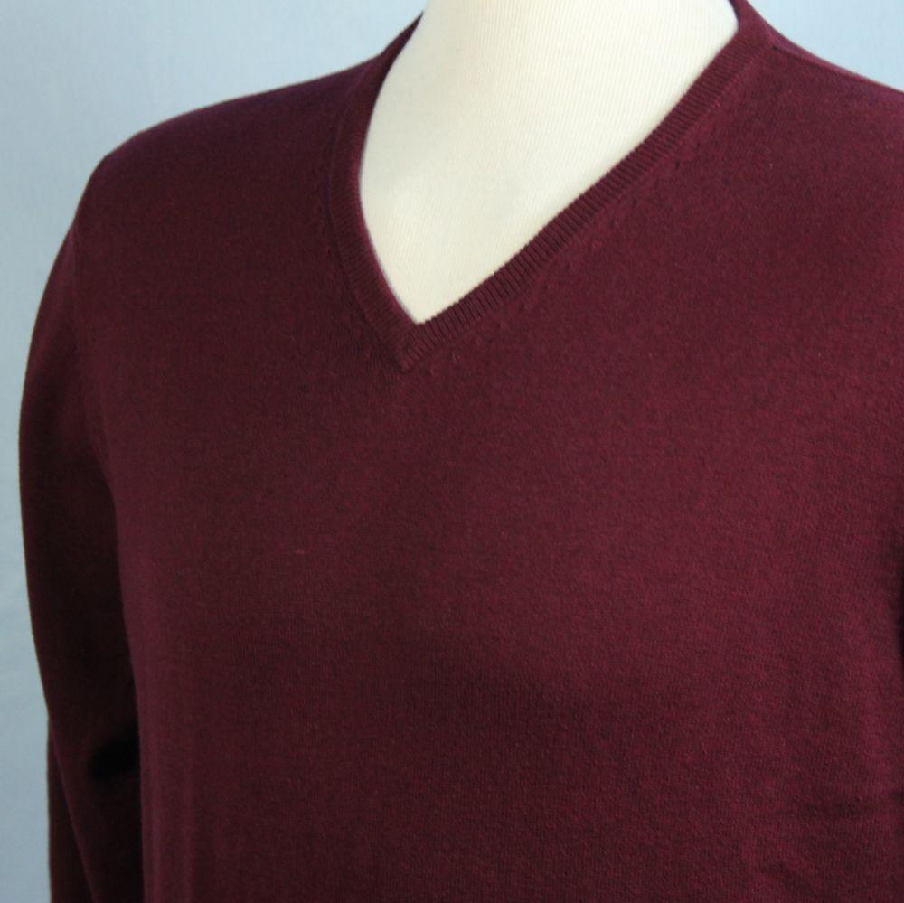 Alan Flusser Mens XXL Cotton Cashmere Boysenberry V Neck Sweater SOFT Excellent #AlanFlusser #VNeck