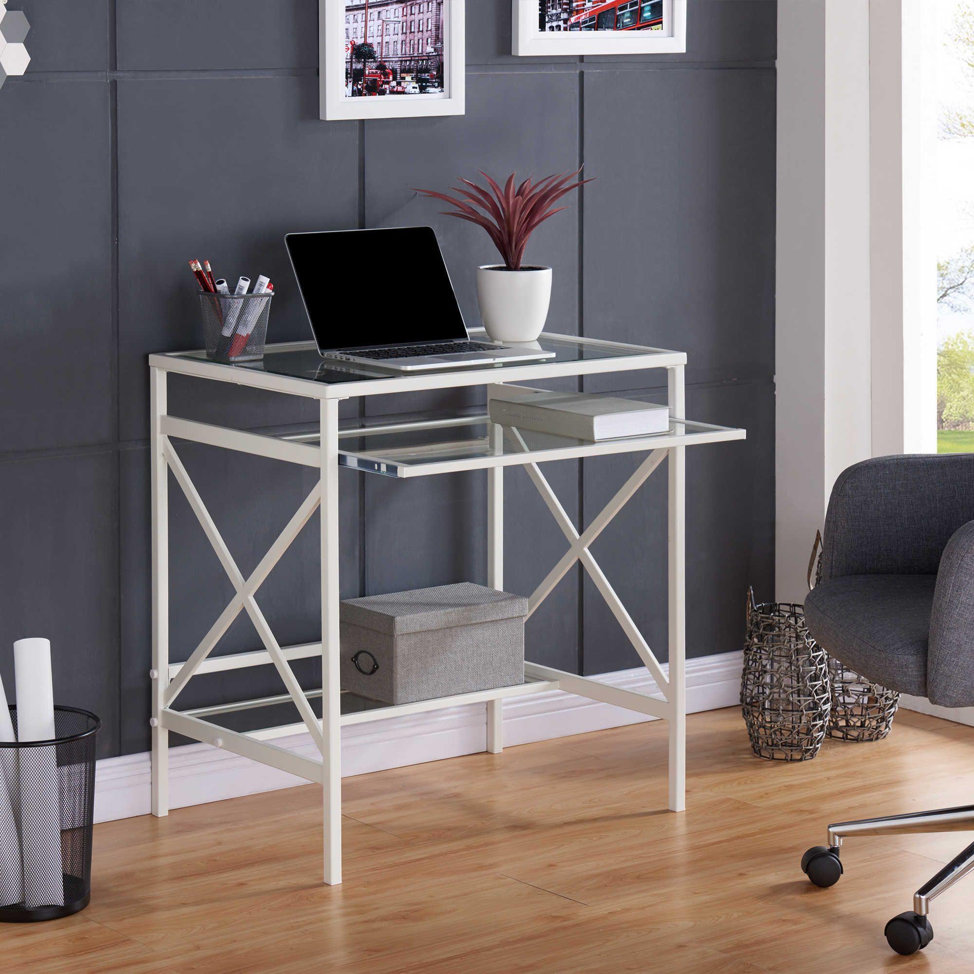 Southern enterprises elvan metalglass smallspace desk in white