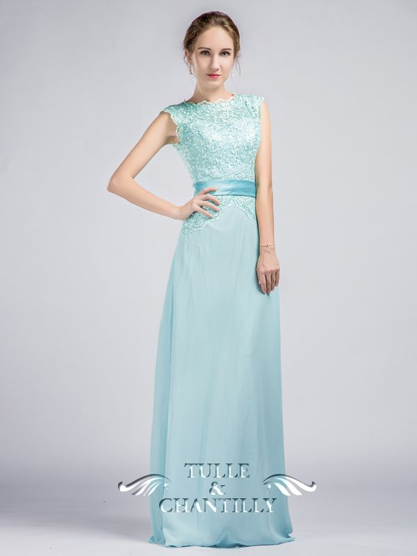 Vintage Sleeveless Illusion Neckline Lace and Chiffon Bridesmaid ...