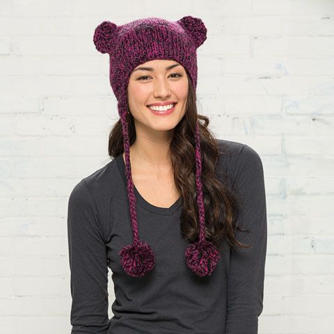 District-Hand Knit Cat-Eared Beanie-DT626