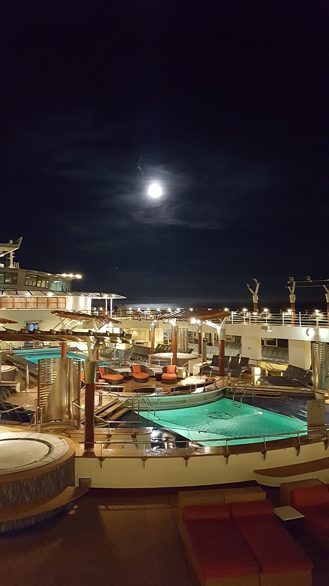 Stunning Full Moon Over The Ship's Deck In Southeast
