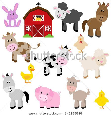 Vector Collection of Cute Cartoon Farm Animals and Barn by ...