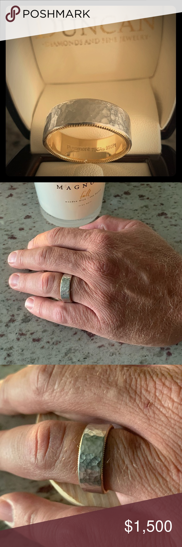 Men's Wedding Band! This was my brother's wedding band. Worn for less than 6 months (the marriage didn't last long!) Ring is in impeccable condition! Includes all receipts, certifications, appraisal, and original ring box. Made of platinum and 18K with a width of 8 millimeters. Hammered finish with a quion edge. Made by Per Amore. Total gold and platinum weight is 11.35 pennyweights. Purchased in May 2017 in Lake Ozark, MO from Duncan Diamonds and Fine Jewelry.  IJO Master Jeweler, GIA certified