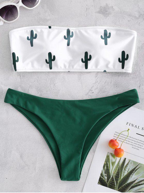 9f57f171b873f Cactus Print Bandeau Bikini - WHITE M