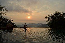 Wasserfall, Sonnenuntergang, Pool, Indien, Goa