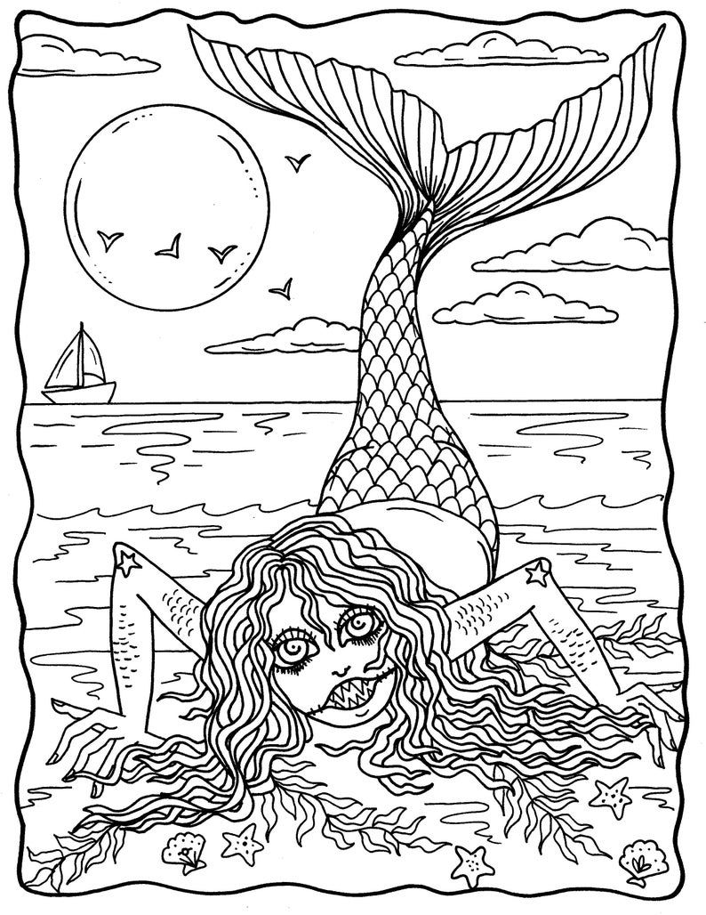 Mermaid Nightmares Pdf Downloadable Printable Digital Etsy In 2020 Coloring Books Fairy Coloring Book Scary Coloring Pages