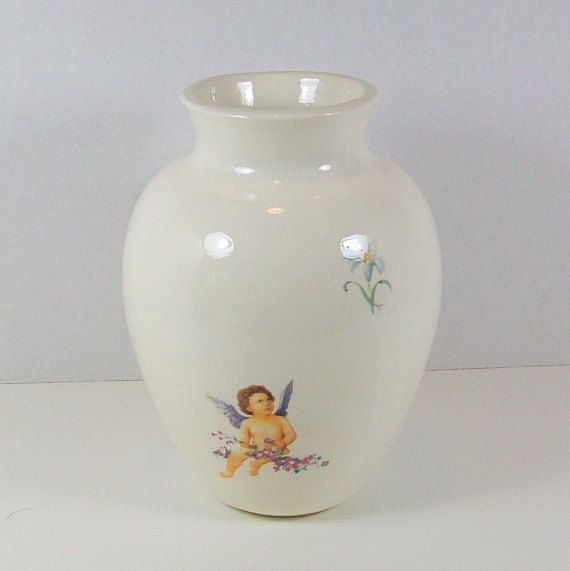 White Vase With Cherubs White Ceramic Vase Flower Vase Vase