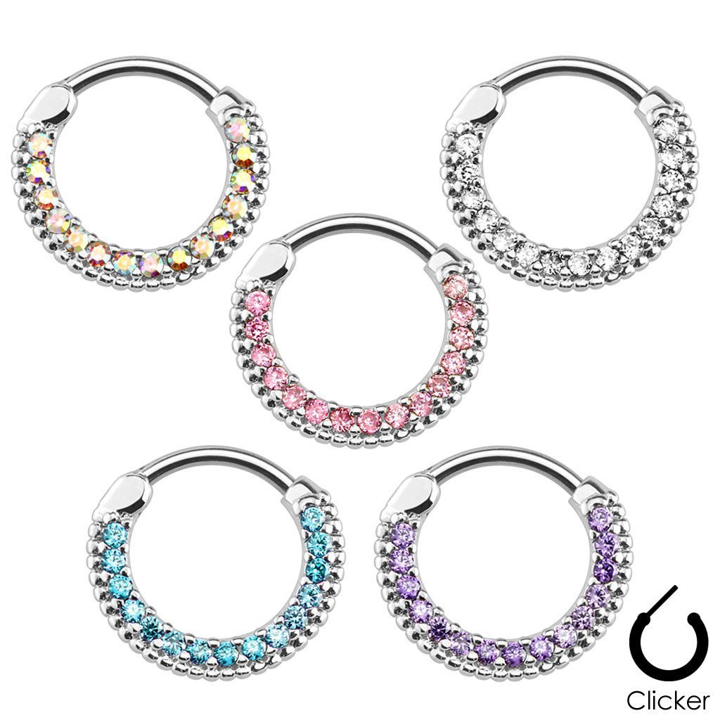1pc Gold Plated Lined Paved Gem Septum Clicker 316L Surgical Steel 16g Nose Ring