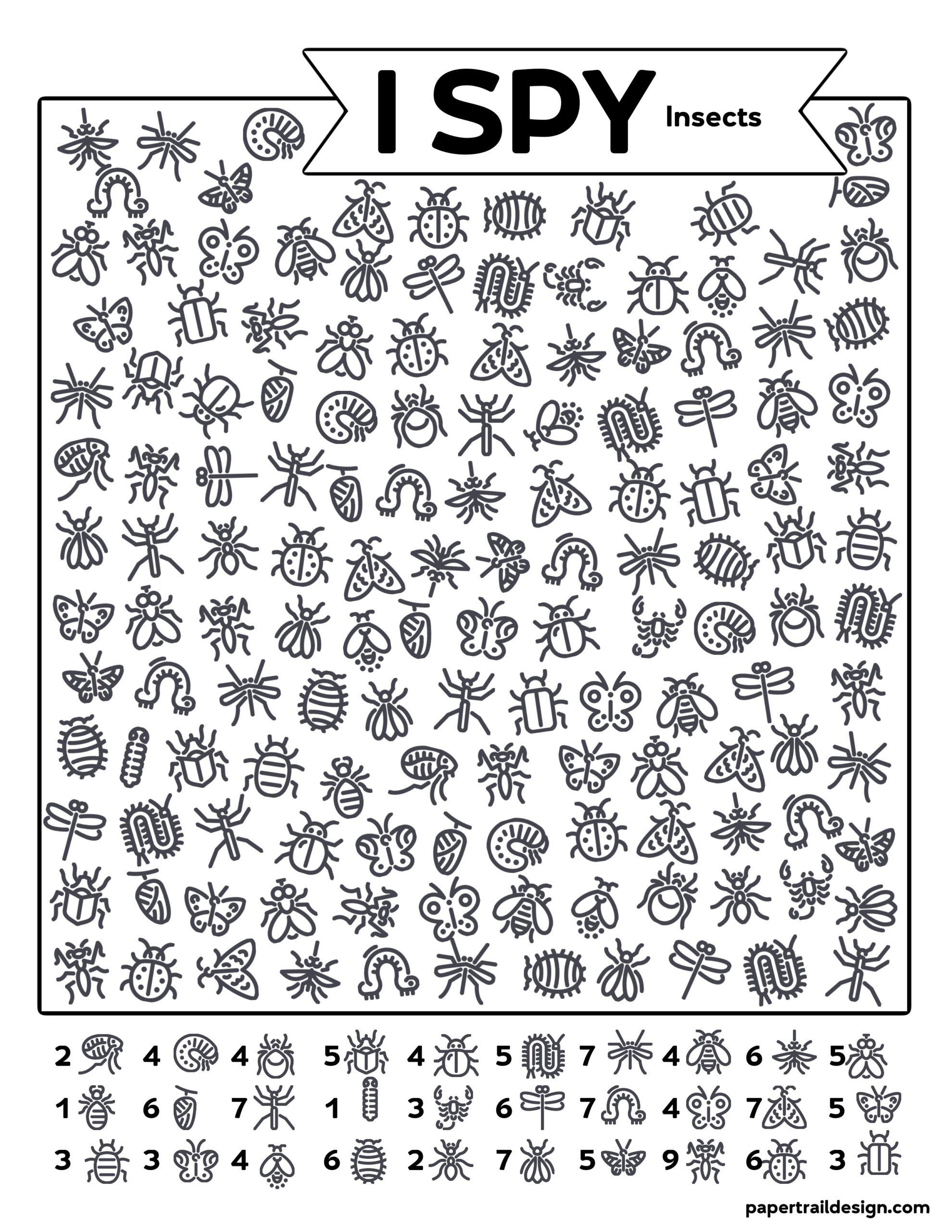 Free Printable I Spy Insects Activity | Paper Trail Design ...