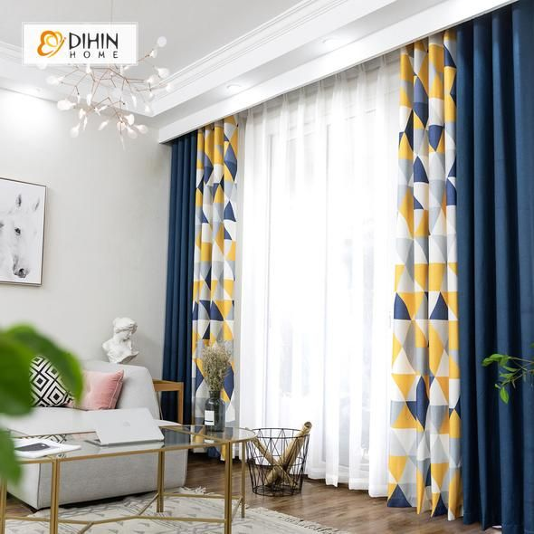 DIHIN HOME Neat Triangle Printed,Blackout Grommet Window Curtain for Living Room ,52x63-inch,1 Panel #allwhiteroom