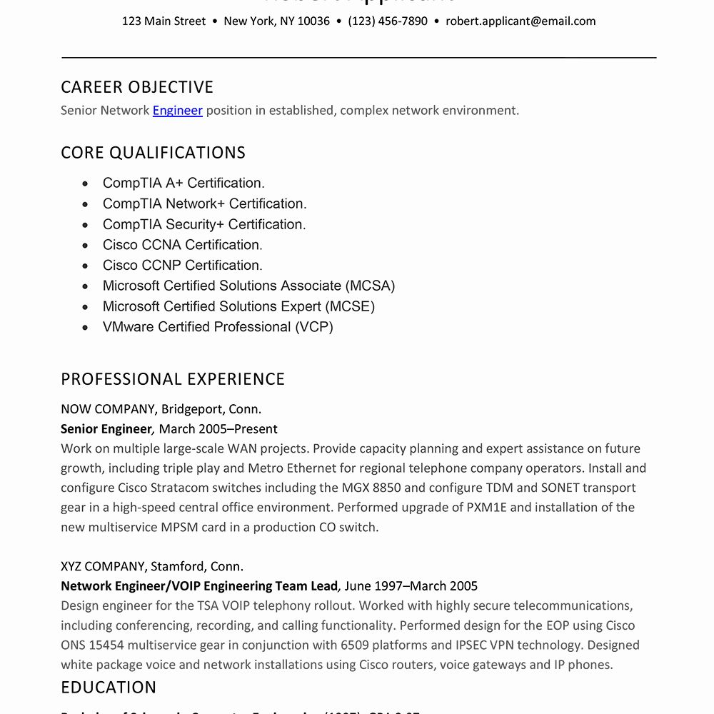 Resume Summary For Engineering Students