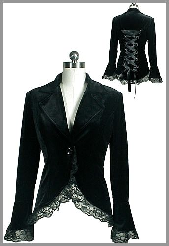 Veste gothique velours noir Fellony
