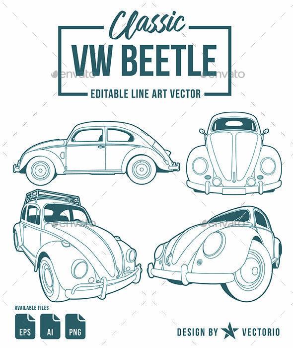 Classic Beetle Line Art Line art, Line art vector, Art