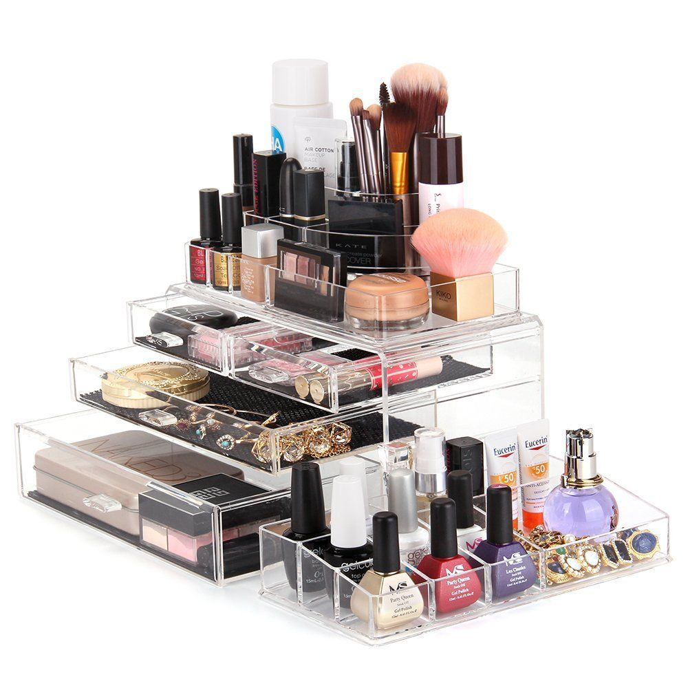 MelodySusie Large Acrylic Makeup Organizer A Set of 3 Pieces
