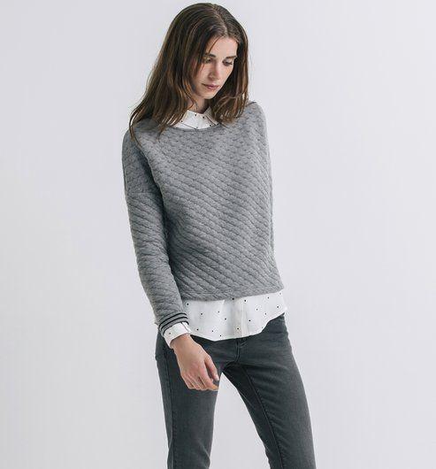 9a9986c65ec13 Sweat-shirt matelassé Femme imprimé gris - Promod   Mode   liste de ...