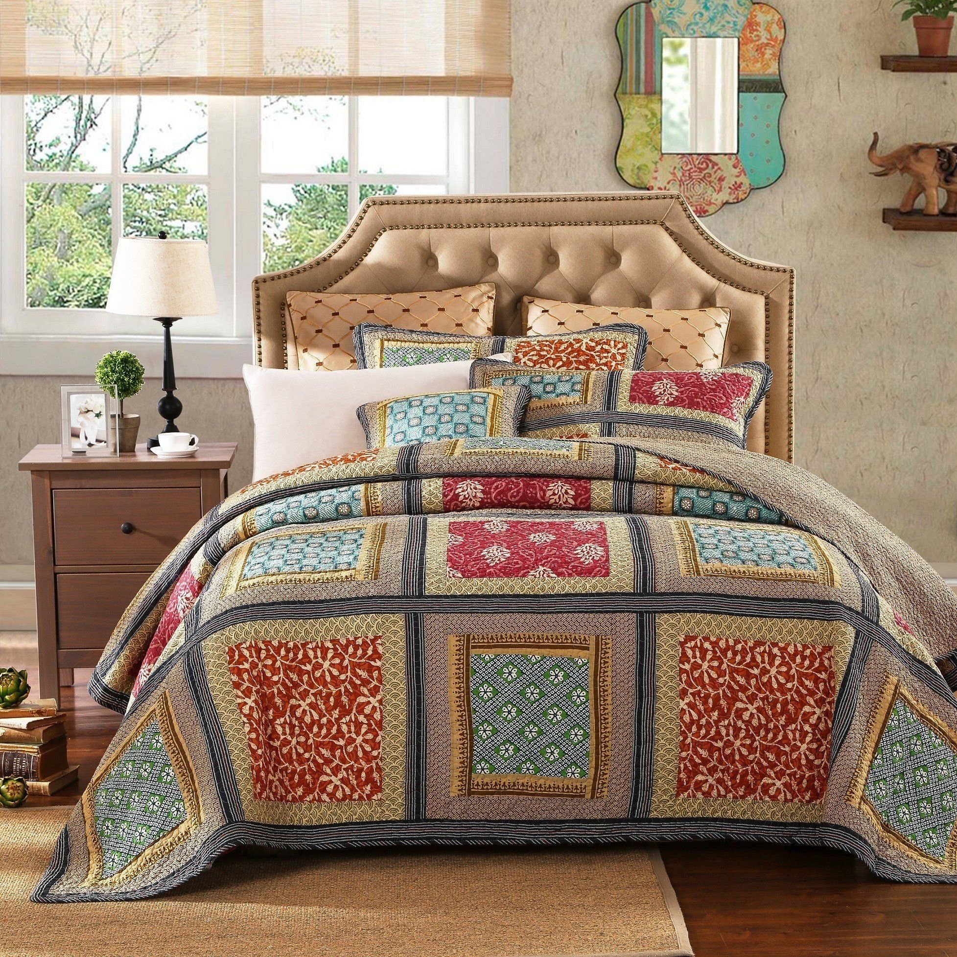 Dada bedding ve jhw 546 ck lavishly bohemian patchwork quilted bedspread set cal king multicolored