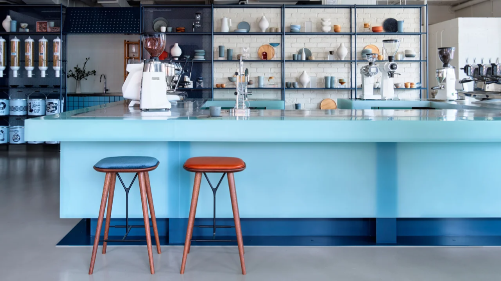 Blue Steel Shelving Is Just One Dreamy Design Detail in
