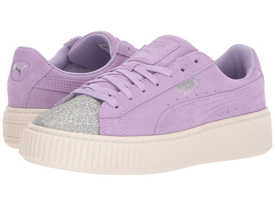 55922b4690c Puma Kids Suede Platform Glam (Big Kid) Girls Shoes PUMA Silver Purple Rose
