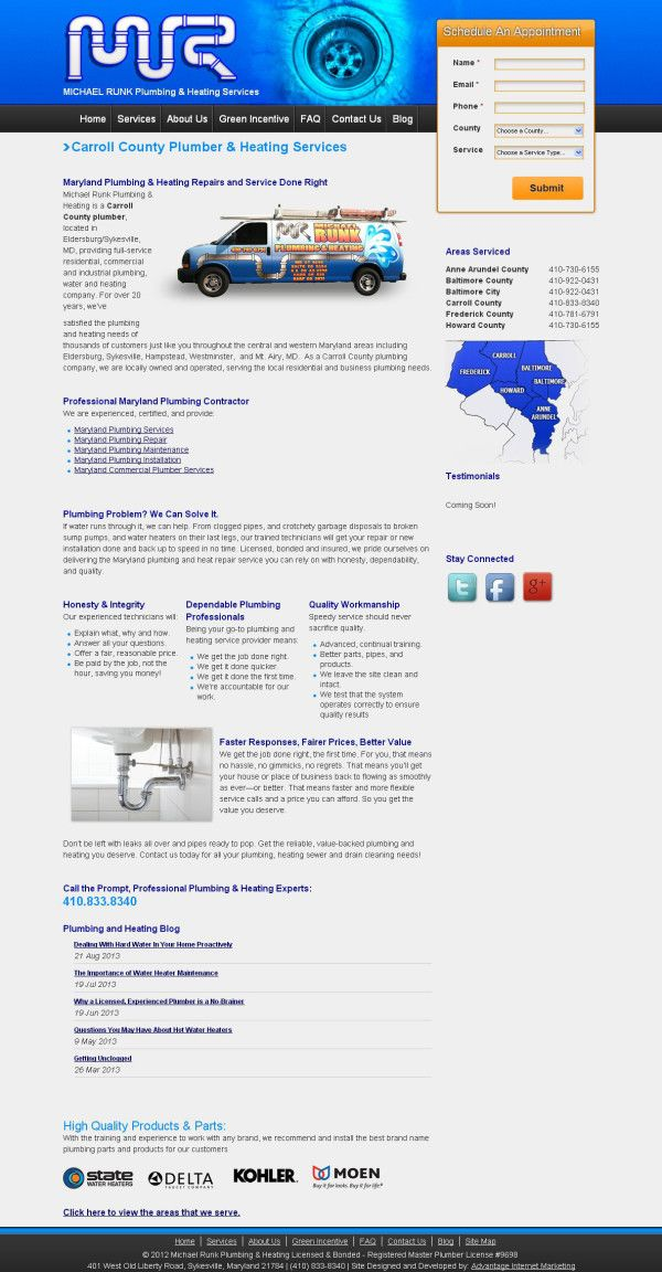 Website Design For Michael Runk Plumbing And Heating Services Webdesign Web Design Layout Userinterface Portfolio Web Design Web Design Heating Services