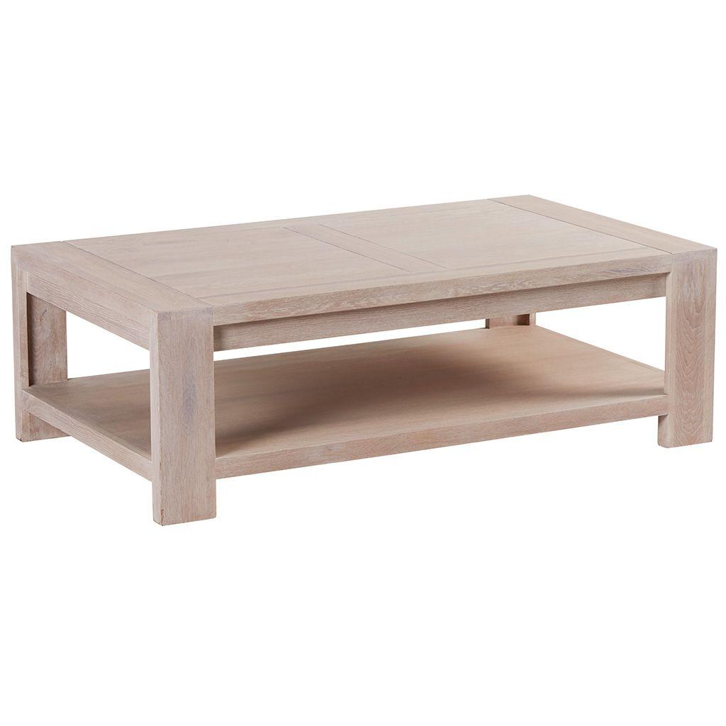 Table Basse Chene Massif Cire Blanchi Double Plateaux 120x70x39cm Manille En 2020 Table Basse Chene Massif Table Basse Chene Et Table Basse
