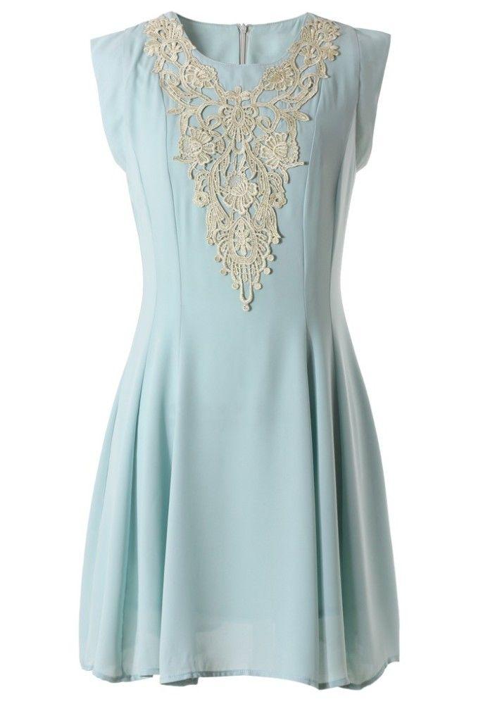 Crochet Mini Blue Chiffon Dress