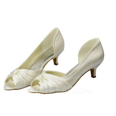93eb977db8a Women s Satin Kitten Heel Peep Toe Sandals With Ruched (047063630 ...
