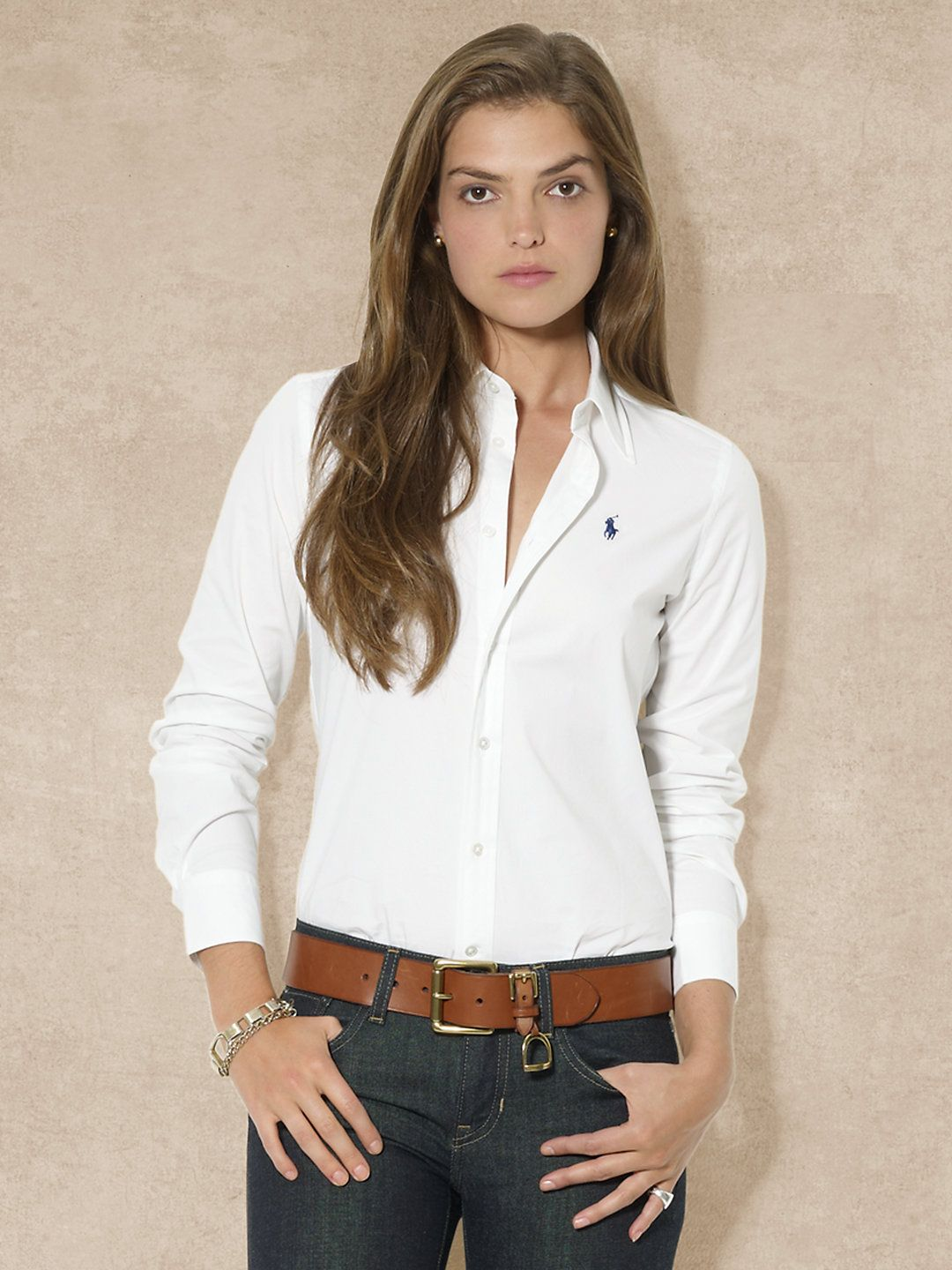 Ralph Lauren Ladies White Slim Fit Oxford Shirt Chemise