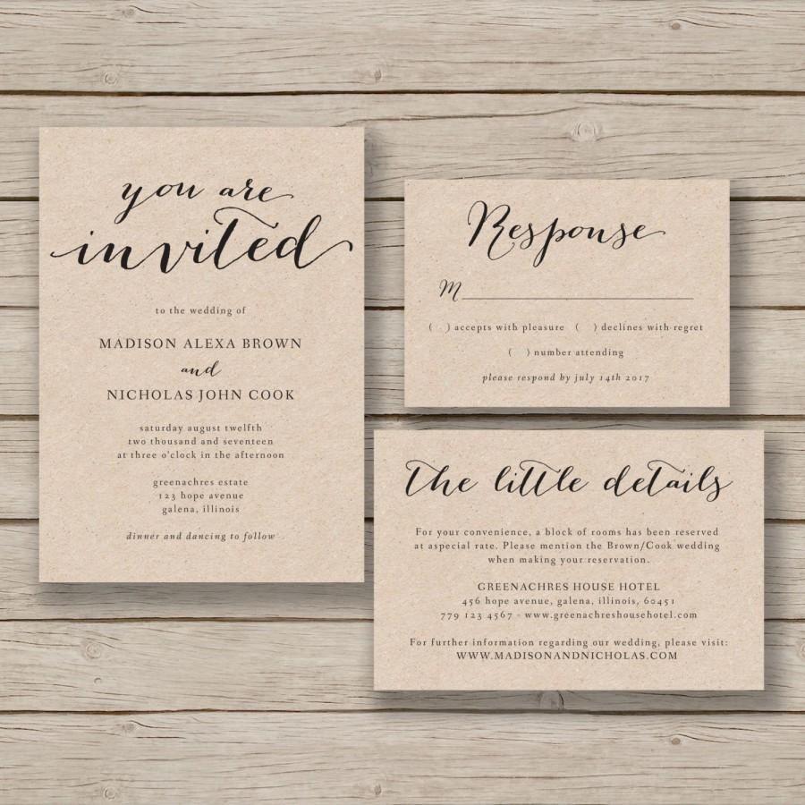 Printable Wedding Invitation Template - Rustic Invitation Suite- DIY ...