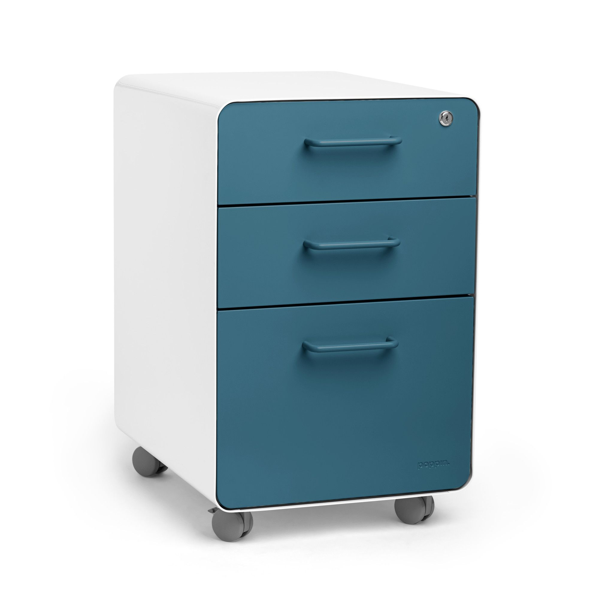 Poppin White + Slate Blue Stow 3 Drawer File Cabinet, Rolling