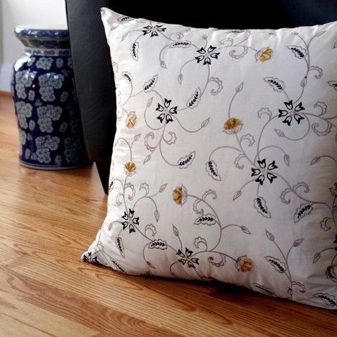 Ecru Floral Pillow Cover by Home From India