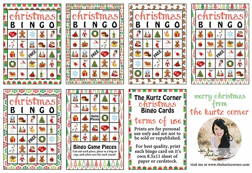image about Free Printable Christmas Bingo Cards identified as Totally free Printable Xmas BINGO Playing cards against The Kurtz Corner