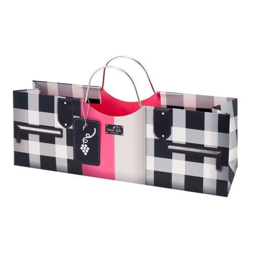 Pink Black Plaid Purse Horizontal 1 Bottle Wine Bag Revel Paper By True