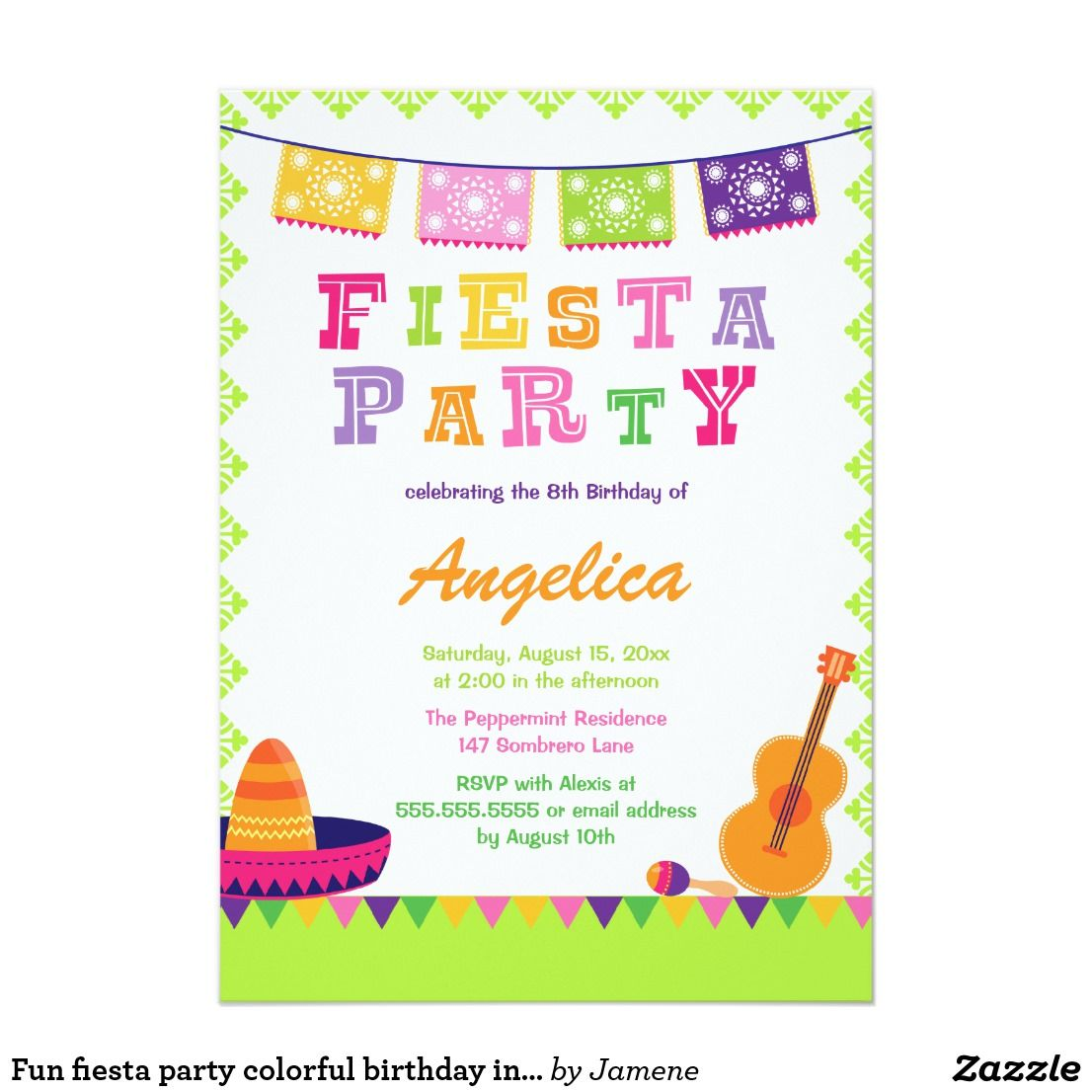 Fun fiesta party colorful birthday invitation   Aislynn Birthday ...
