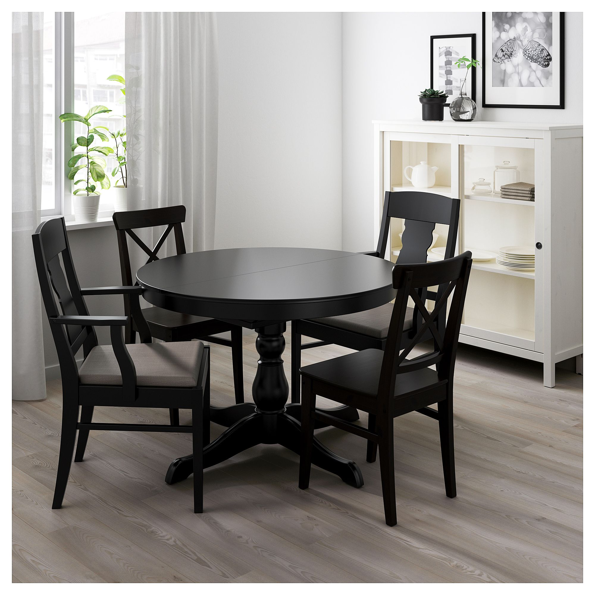 Ingatorp Ingolf Table And 4 Chairs Black Nolhaga Gray Beige Ikea Black Round Dining Table Black Kitchen Table Table