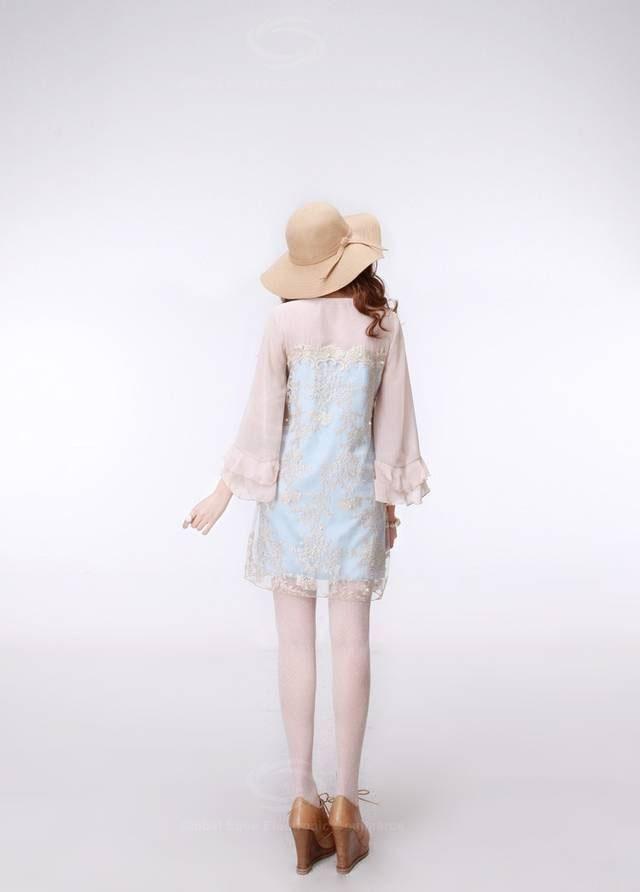 Chic Lace Embroidery Ruffled Sleeve Beaded Chiffon Dress For Women (BLUE) China Wholesale - Sammydress.com | Sammy dress. Beaded chiffon. Beaded ...