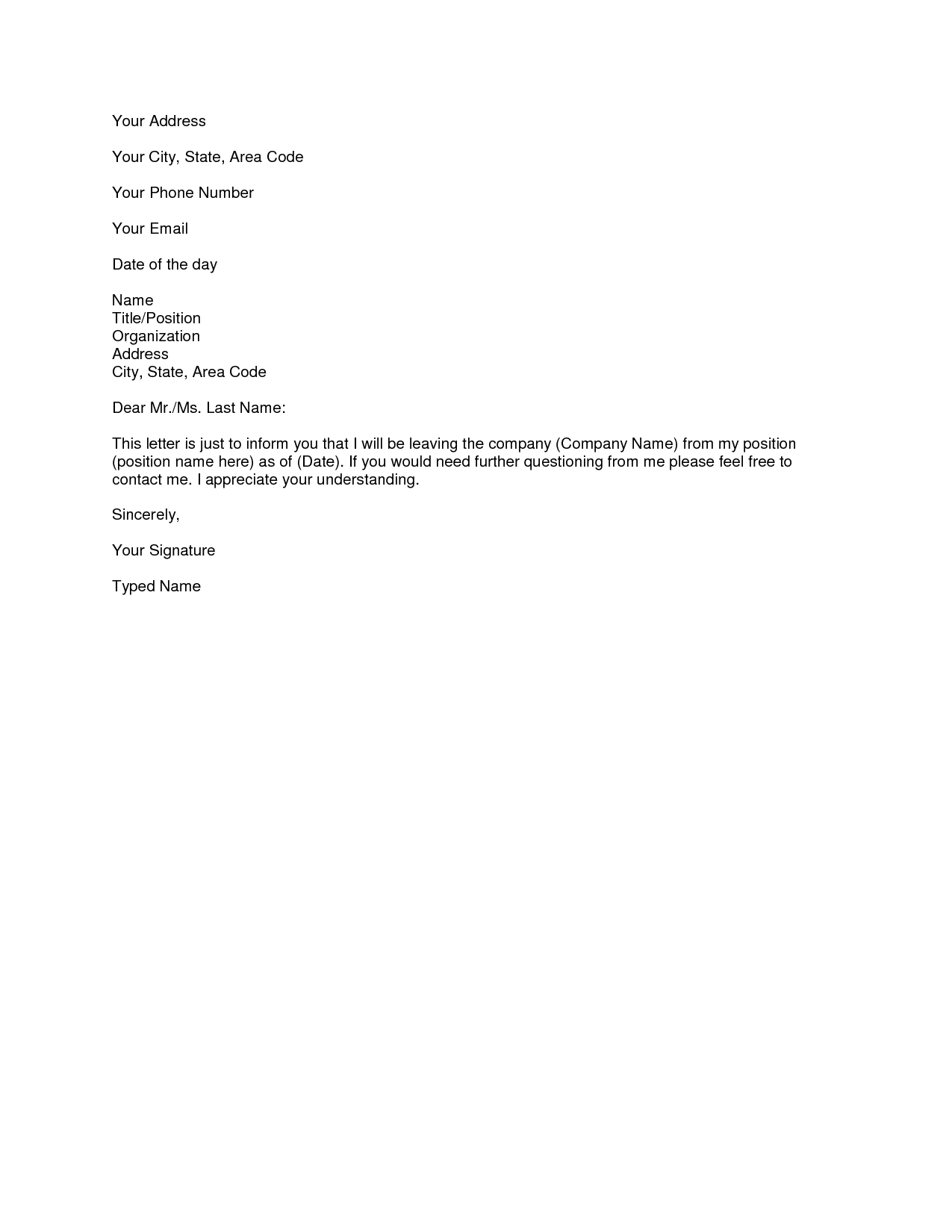 Printable Sample Letter of Resignation Form | Laywers Template Forms ...