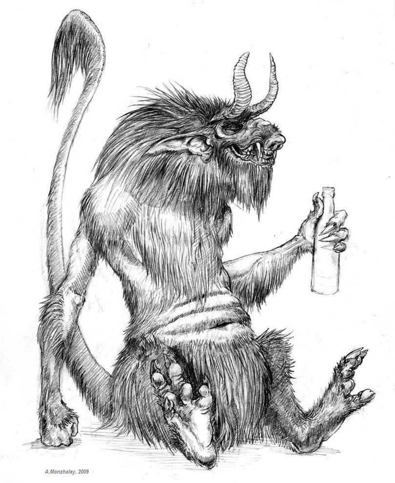 chort slavic myth a creature of total evil that has horns a pig