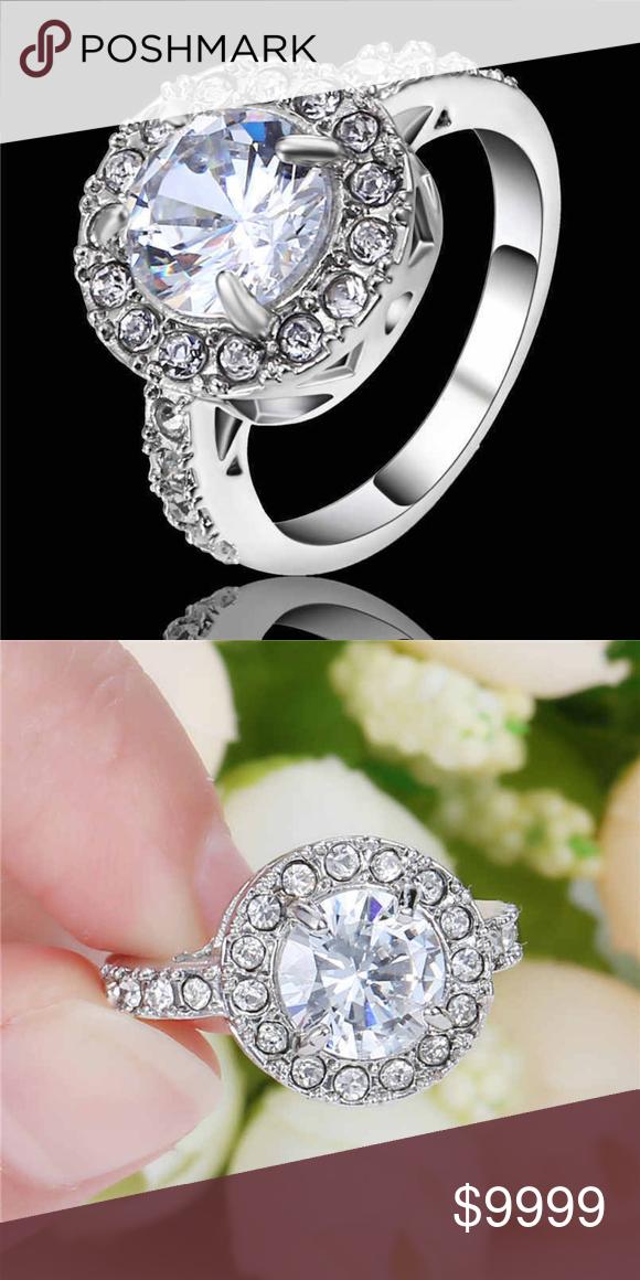10k White Gold Filled White Sapphire Ring Jewelry White Sapphire Ring White Sapphire