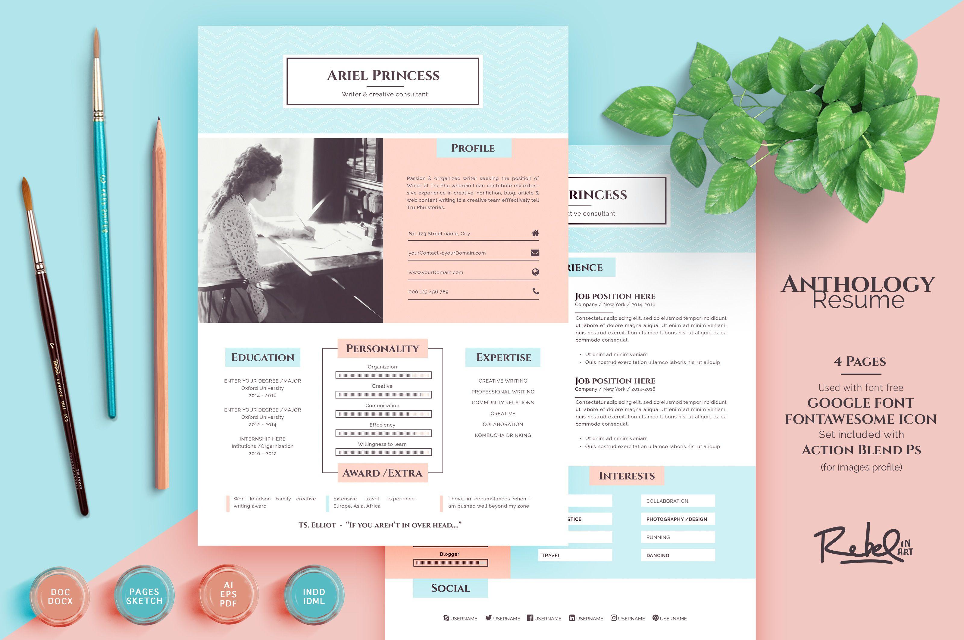 Anthology resume cv 4 page support multiformat on