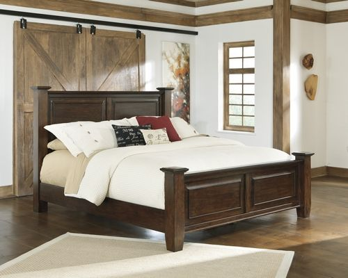 B695 72 Millennium By Ashley Hindell Park King Poster Bed Dark Brown Big Sandy Superstores