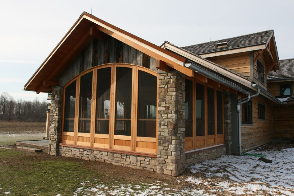 Enclosed three season porch or bump out for home office for Timber frame porch designs
