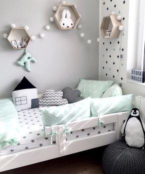 Kinderzimmer in Mint Grau und Schwarz Weiß | Ideen rund ums ...