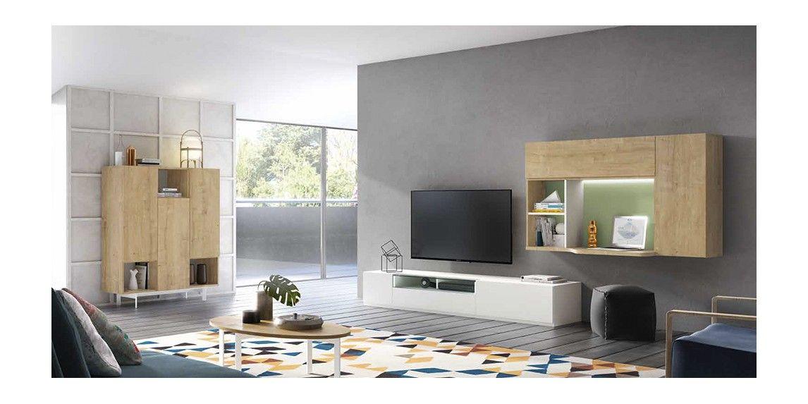 Muebles Lacados Blanco Para Salon.Mueble De Salon Con Modulo Bajo Blanco Y Modulo Suspendido